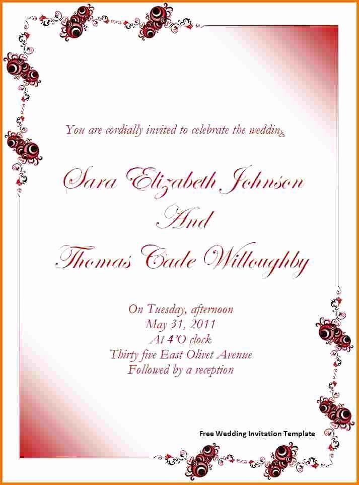 Microsoft Word Wedding Invitation Template Beautiful Free Wedding Invitati In 2020 Free Wedding Invitation Templates Free Wedding Invitations Invitation Templates Word