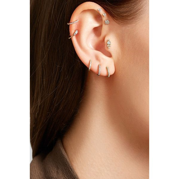Maria Tash 18-karat gold diamond earring ($350) ❤ liked on Polyvore featuring jewelry, earrings and maria tash jewelry