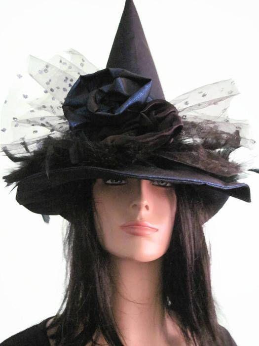 Bruja Brujas elegante satén azul sombrero sombrero de lujo