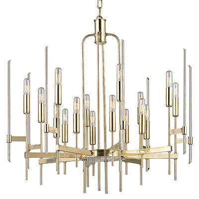 Bari 9916-AGB, with grand polished glass rods continuing the perpendicular style. Hudson Valley Lighting Bari pays homage to Italy's mid-century design icons with its multi-tiered composition of polished glass rods, perpendicular flat metal arms, and super skinny lamp holders. Cylindrical tungsten bulbs provide attractive accents, sleekly integrated to the fixture's form. Seen here in Aged Brass and set to stun.