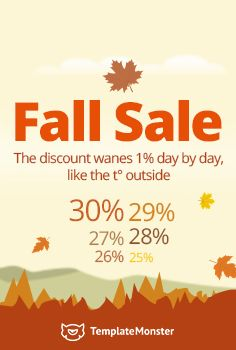 Say No to Gloomy Weekdays! TemplateMonster.com Prepares New Surprises! Fall Sale For All Products! Hurry Up! The Discount Wanes 1% Day by Day! The Best Day for Purchase is Today - http://www.templatemonster.com/?utm_source=pinterest_cpc&utm_medium=tm&utm_campaign=fallsale16