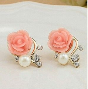 Koreanischen Modeschmuck Trieben Ohrringe Neuen Stil Koreanische Frauen Ol Rosa Rose Imitation Perle Kristall Ohrringe Großhandel