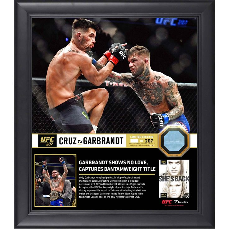"Cody Garbrandt Ultimate Fighting Championship Fanatics Authentic 15"" x 17"" UFC 207 And New Bantamweight Champion Collage with a Piece of Canvas From UFC 207 - $89.99"