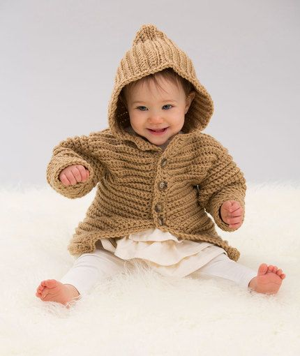 Hooded Playful Cardi Free Crochet Pattern in Red Heart Yarns