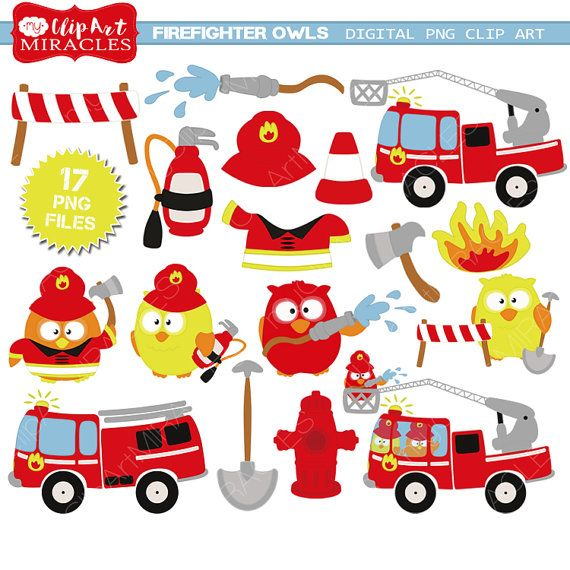 Firetruck clipart Firefighter party by MyPrintableMiracles on Etsy