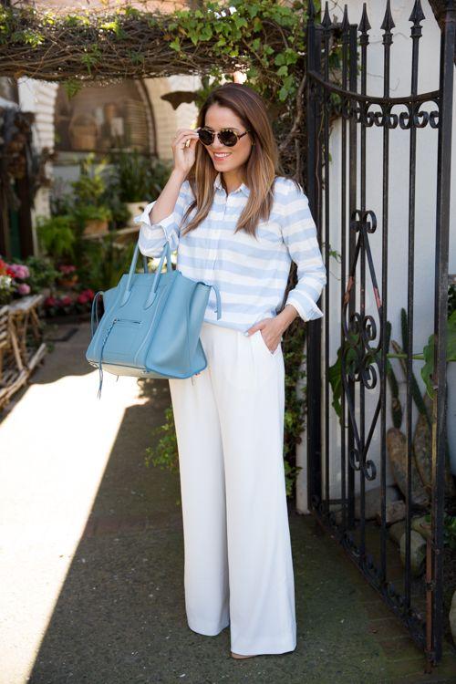55 Spring Outfits to Copy ASAP | White wide-leg pants + pastel striped top, and bright colored satchel bag
