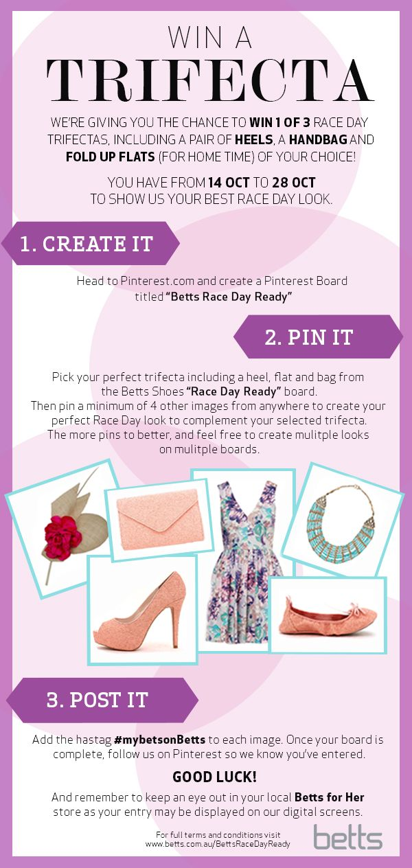 Enter the Betts Race Day Ready competition for your chance to WIN 1 of 3 Trifecta prize packs, including a pair of heels, a handbag and fold up flats (for home time) of your choice. You have until 28th Oct 2013 to show us your best Race Day look!  #mybetsonbetts #competition #win #springracing #shoes