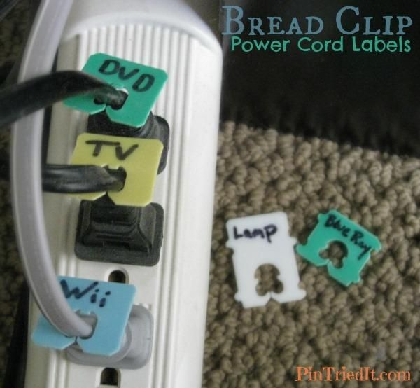 Bread Clip Power Cord Labels - great use!