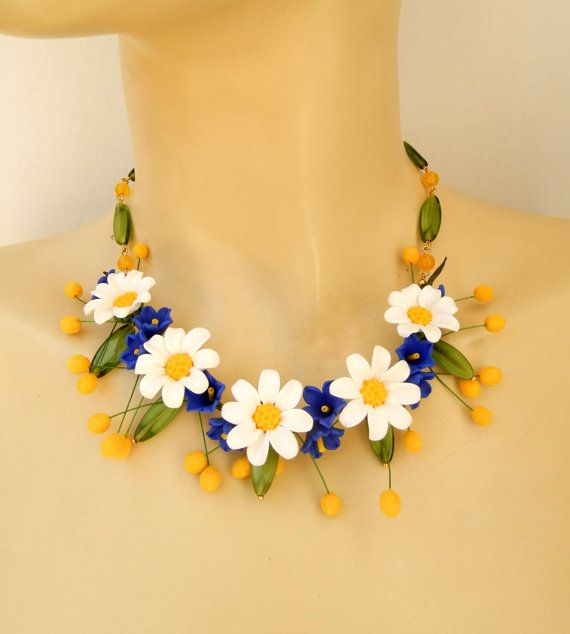 Daisies  Bell flowers  Flower necklace earrings  by insoujewelry, $68.00