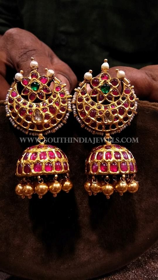 Gold Antique Kemp Ruby Jhumka Designs, Gold Bharathanatiyam Kemp Ruby Jhumka Designs.