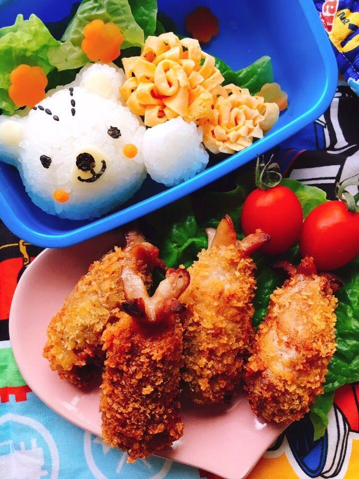 misuzu's dish photo 肉巻きソーセージでエビフライ風 http://snapdish.co #SnapDish #レシピ #簡単料理 #肉料理 #お弁当 #キャラ弁 #再現料理
