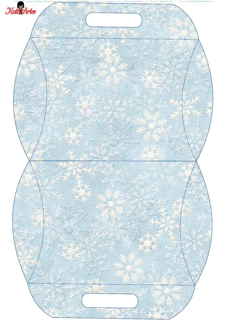 Snowflakes: Free Printable Pillow Boxes.