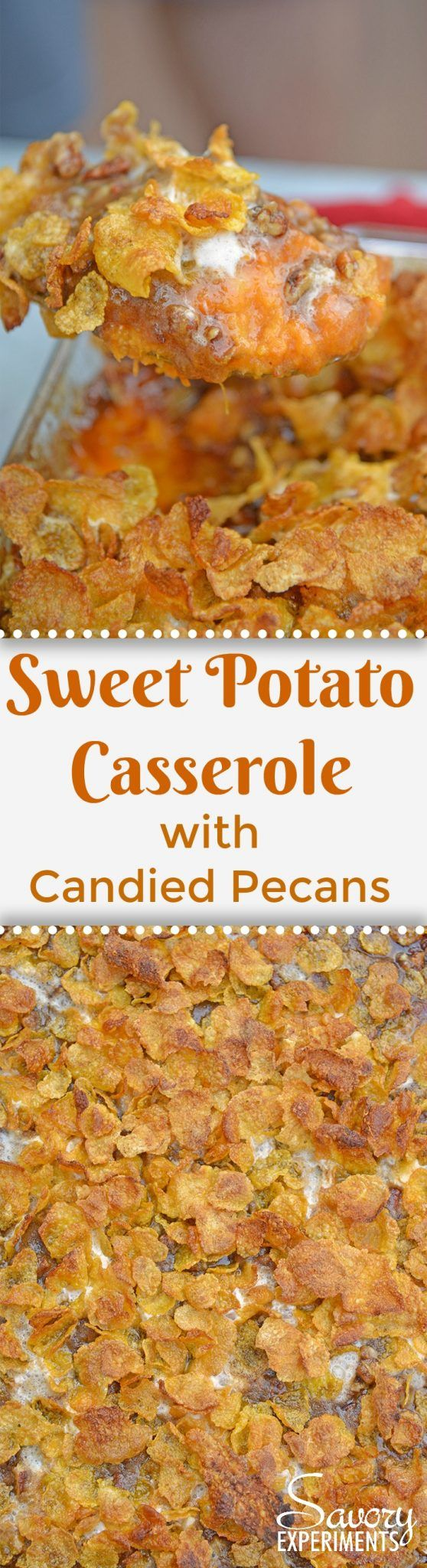 Sweet Potato Casserole with Pecans is the ultimate sweet potato souffle recipe using fresh sweet potatoes, pecan topping and marshmallows. #sweetpotatocasserole #sweetpotatosouffle www.savoryexperiments.com via @savorycooking