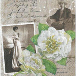 Madam Rose vintage servítka dáma,gentleman,  ruže