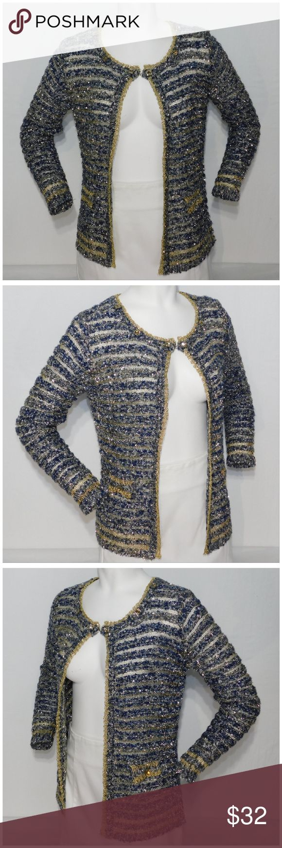 """NWT, TESTORI Rhinestone Metallic Cardigan, size XL NWT, TESTORI,  Rhinestone Metallic Open Weave Dressy Cardigan, size L/XL Large X-Large See Measurements Listed as XL in size category, NEW WITH TAG, faux flap pockets with large decorative rhinestone, light-weight sparkly stretchy open knit, 70% polyester, 30% metallic, approximate measurements: 24"""" length, 19 - 22"""" bust laying flat, 24"""" sleeves. ADD TO A BUNDLE! 30% Automatically Discounted on all Bundles! Testori Sweaters Cardigans"""
