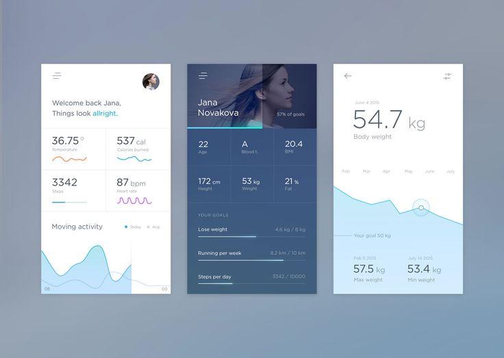 Screens of a health app designed by Jakub Antalik