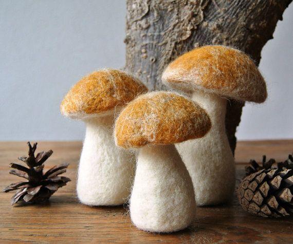 Three felted mushrooms felt food by FeltedDecorations on Etsy