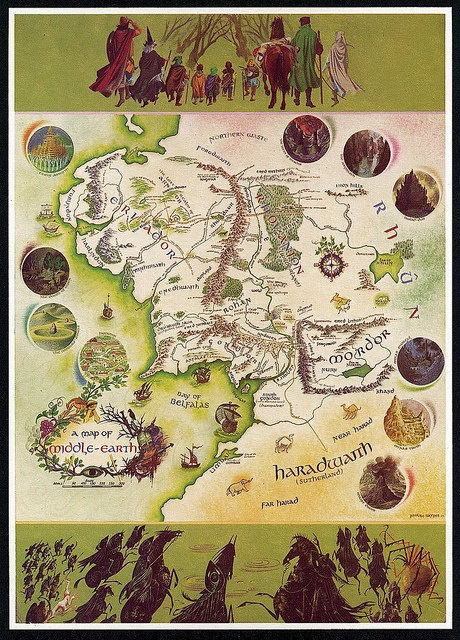 Illustration of Middle Earth by Pauline Baynes (1970) for The Lord of the Rings by J.R.R. Tolkien
