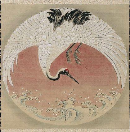 Crane and Waves  波に鶴図  Japanese, Edo period, latter half of the 18th century  Tsuruzawa Tansaku Morihiro, Japanese, died in 1797, Hanging scroll; ink and color on silk, MFA