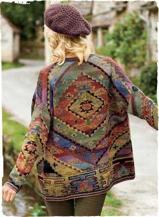Kaffe Fassett - Kilim Pima Cotton Alpaca Kimono (Holiday 2013) for Peruvian Connection