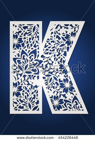 Floral paper cut monogram capital letter K. May be used for laser cutting, scrap booking, desktop plotter. Monogram initial K with flowers and leaves for paper cutting. Flower letters set for wedding.