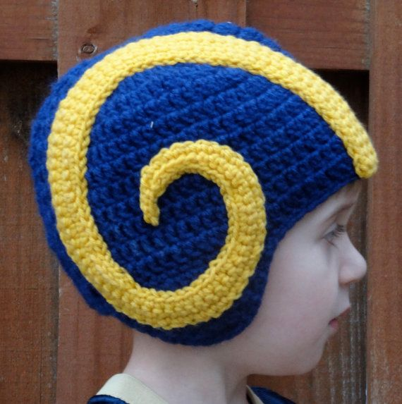 Your child can be the ultimate Rams fan with this crocheted hat! He will feel part of the team with a helmet just like his favorite players wear. No