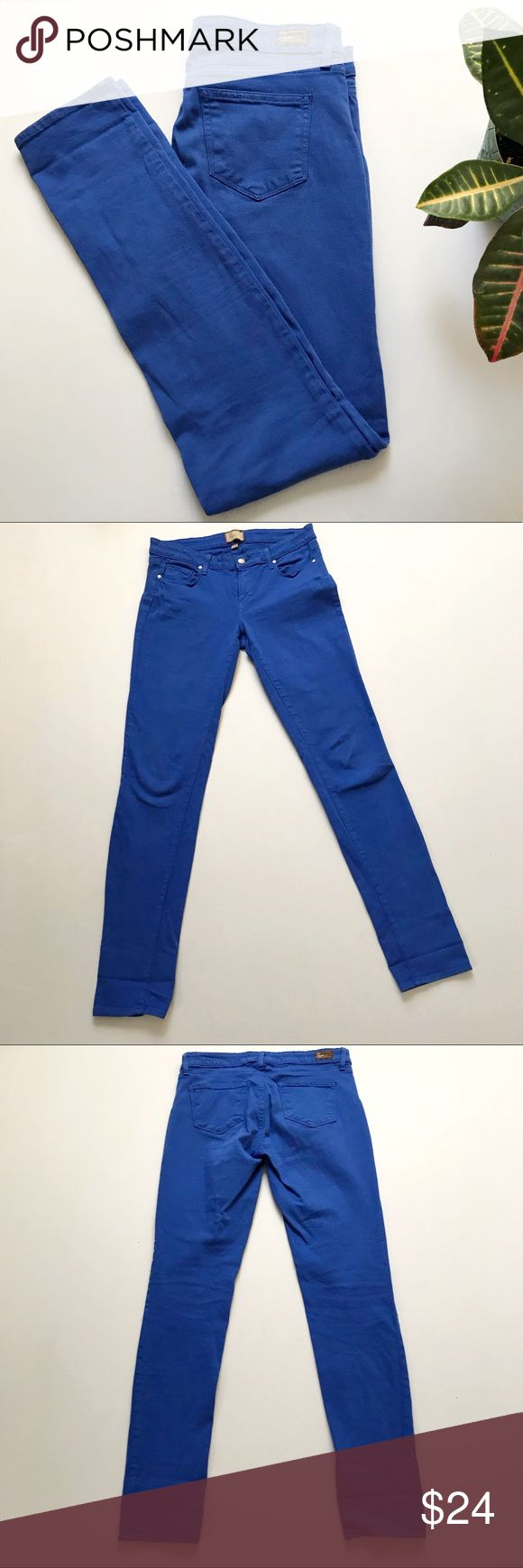 Paige Peg Skinny Cobalt Jeans Peg skinny colbalt Jeans from Paige. Size: 29. Color: Parasol Blue. Mid rise skinny jeans in a bright fun color. 5 pocket construction. 98% cotton, 2% spandex. Inseam: 34 inches. Rise: 8.5 inches. PAIGE Jeans Skinny