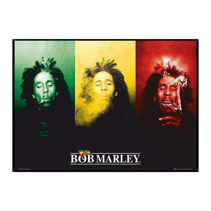 USA Bob Marley Smoke Hardboard Frame 36 x 24-inch Poster