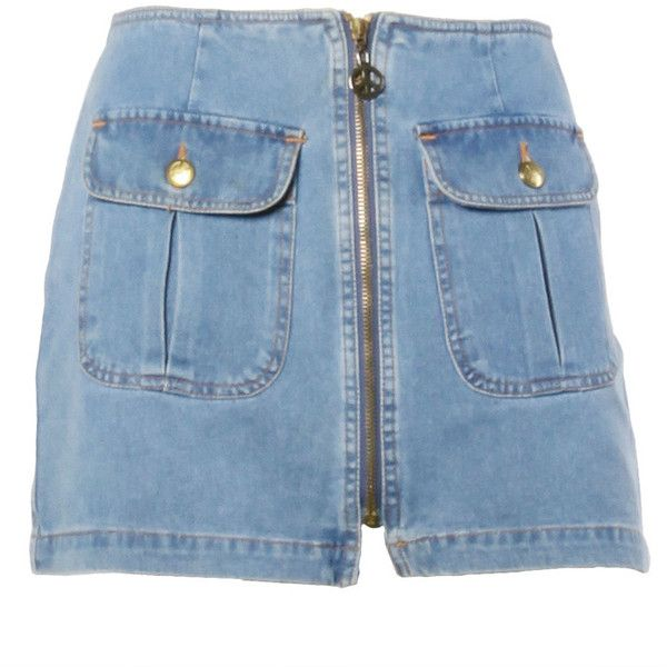 Preowned Moschino Jeans 1990s 90s Chambray Denim Zip Up Mini Skirt-... ($225) ❤ liked on Polyvore featuring skirts, mini skirts, shorts, bottoms, denim, multiple, blue denim mini skirt, blue mini skirt, mini skirt and denim button skirt