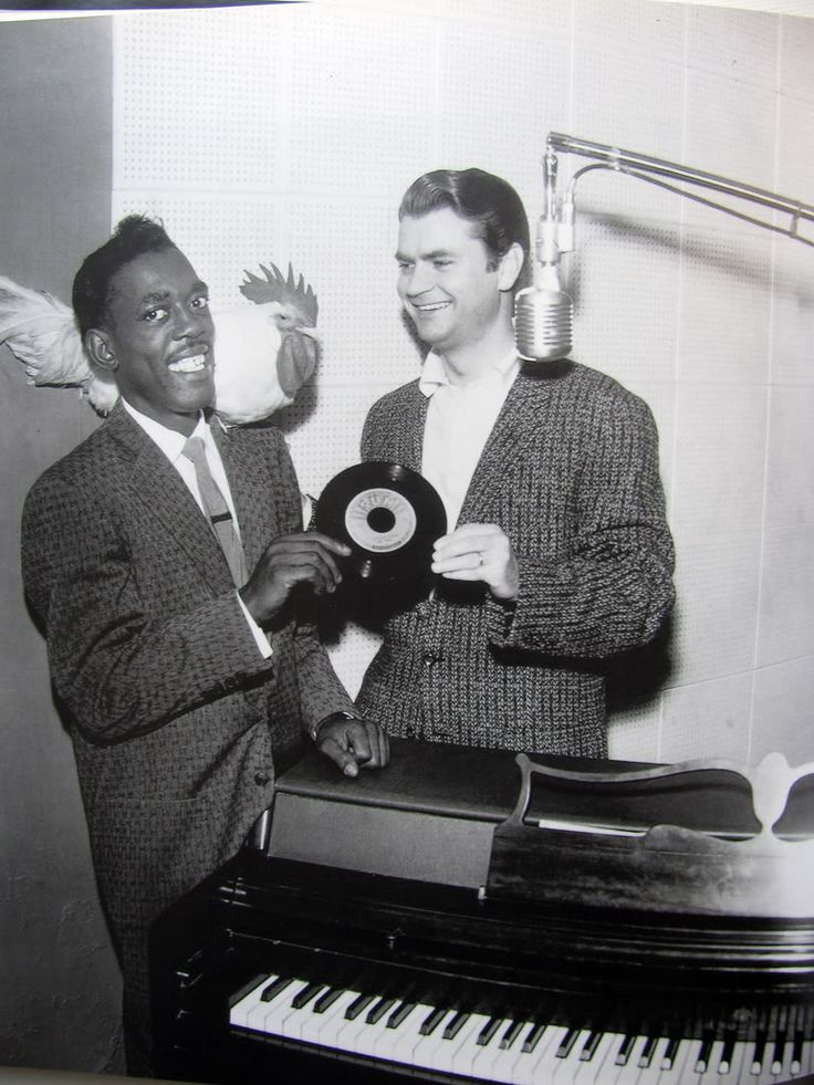 Rosco Gordon and Sam Phillips, for The Chicken (Dance With You), on Sun Records, 1955 in Memphis.