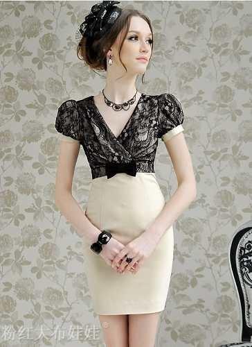 Vestido V Encaje - $ 800.00