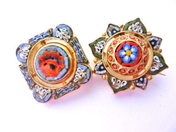 Unusual micro mosaic brooches   Italian Florentine by RAKcreations