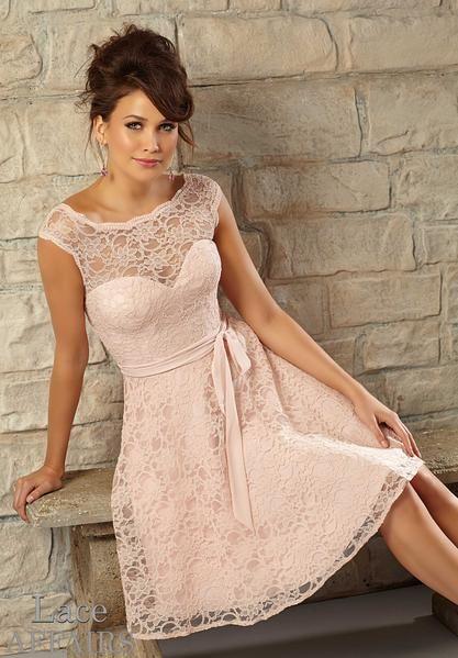 e52a9e7c57d Morilee Bridesmaids 725 Short Cap Sleeve Lace Dress - Off White Bride