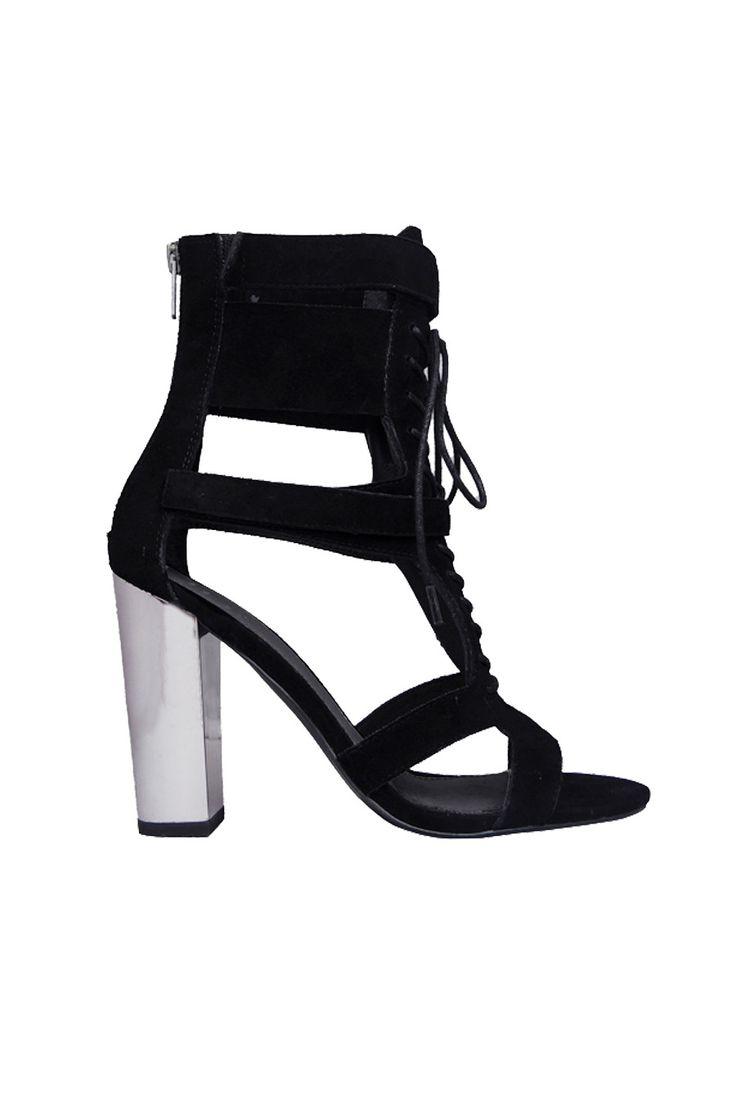 Iris Footwear - Designer Robin Black Suede Lace Up Heels