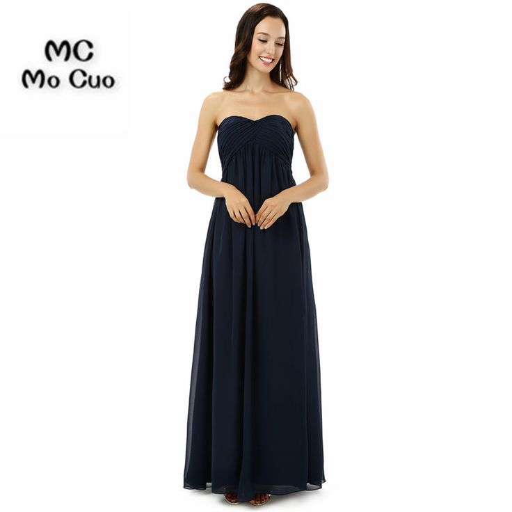 >> Click to Buy << 2017 Dark Blue Bridesmaid Dress Long Maid of Honor Wedding Party Dresses Chiffon Sweetheart Pleat Formal Bridesmaids Dresses #Affiliate