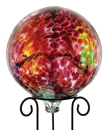 Red 10'' Kitras Gazing Ball & Stand by Kitras Art Glass on #zulily