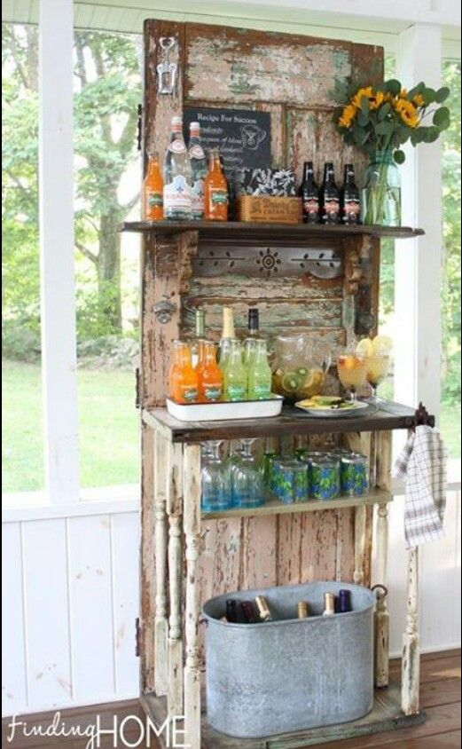 Turn old doors into bars.(: