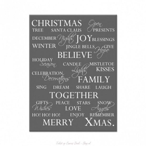 Mooie kerst tekst op canvas. Tekst op Canvas Doek-Shop.