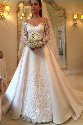 V-Neck Off-The-Shoulder Applique Long Sleeves Sweep Train Wedding Dress