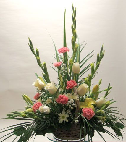 carnation and gladiolus floral arrangements | Basket / Container Arrange : Long-lasting Flower Arrangement for ...: Floral Design, Funeral Flowers Arrangements, Gladiolus Arrangement, Gladiolus Floral, Gladiolus Carnation, Flower Arrangements, Floral Arra