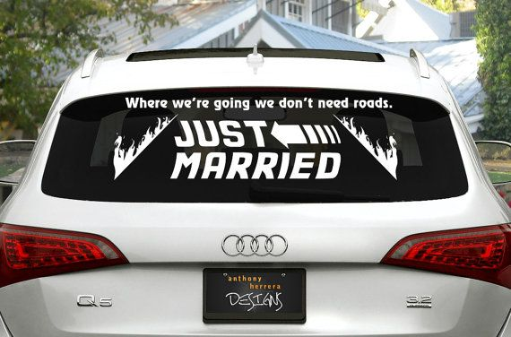 Back To The Future Just Married Wedding Vinyl Decal