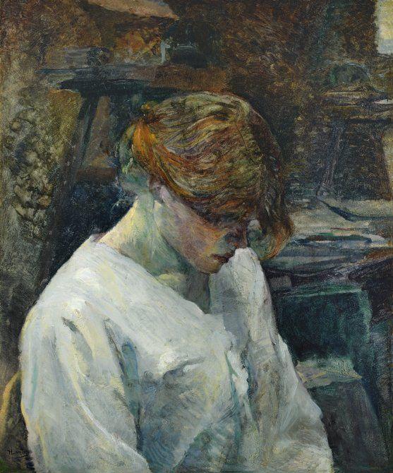 La pelirroja con blusa blanca. Henri de Toulouse-lautrec