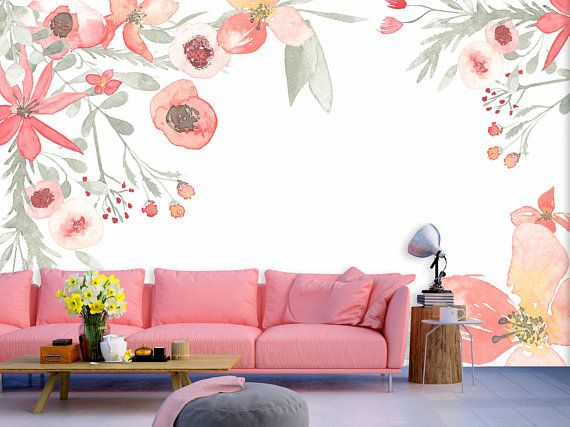 Spring Blossom Watercolor Flowers Wall Mural Flowers In Pink
