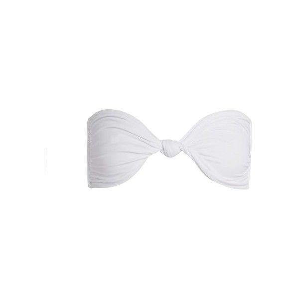 Mikoh Carmel bandeau bikini top ($150) ❤ liked on Polyvore featuring swimwear, bikinis, bikini tops, cream, bandeau swimwear, bandeau top bikini, bandeau swimsuit top, long-sleeve swimwear and long bikini top