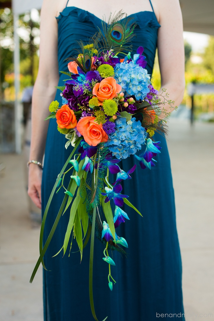 Peacock Themed Wedding Flowers Bouquets