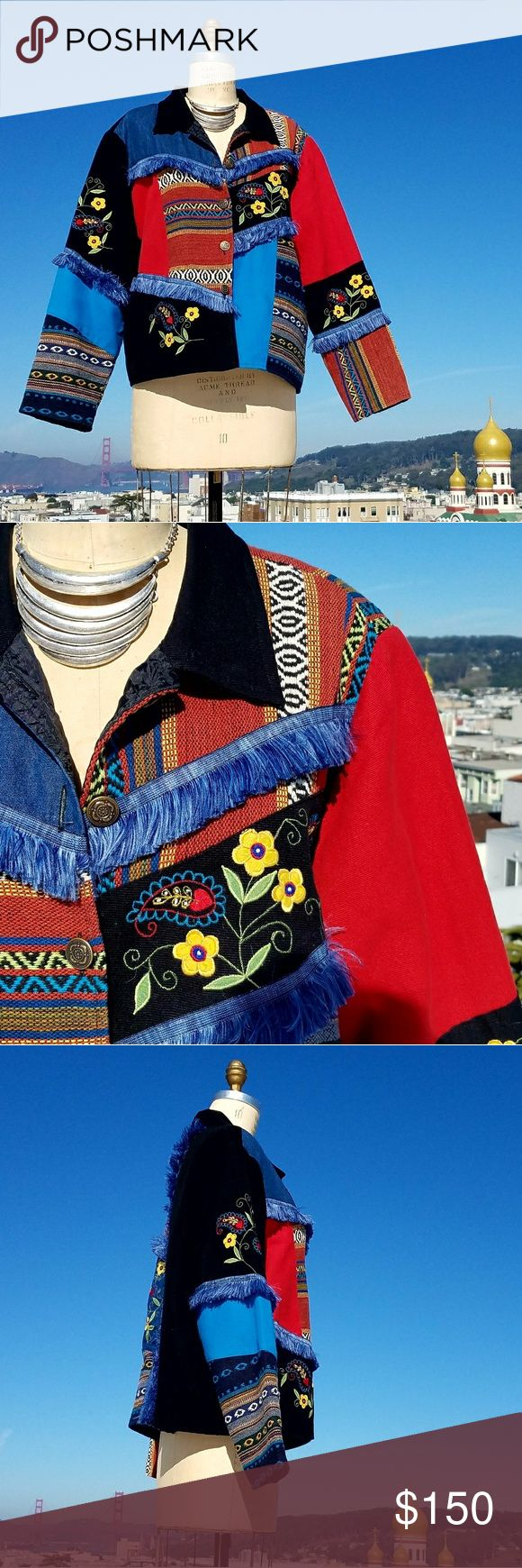 Vintage Julia Kim Mixed Media Jacket, Sz XL Stunning vintage mixed-media jacket from Julia Kim in a size extra large. This amazing piece has details everywhere! Vivid colors, lovely embroidery, tapestry-style sleeve fabric, and a silky soft liner make this a statement piece you'll want to keep forever. 💕 Definitely oversized at an extra large, this jacket is meant to be the star of the show. Ideal paired over an LBD or long sweater. In excellent vintage condition, and impeccably stored…