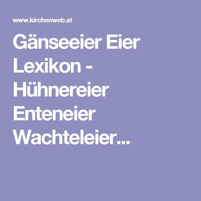 Gänseeier Eier Lexikon - Hühnereier Enteneier Wachteleier...