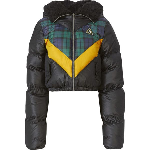 Quilted Chevron Puffer Jacket ($500) ❤ liked on Polyvore featuring outerwear, jackets, pattern, zip front jacket, cropped jacket, puffer jacket, hooded puffer jacket and collar jacket