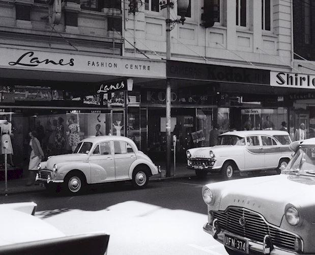 Black and white photograph of the shopfront of Kodak Australasia Pty Ltd's building on Hay Street, Perth, Western Australia, circa 1960s
