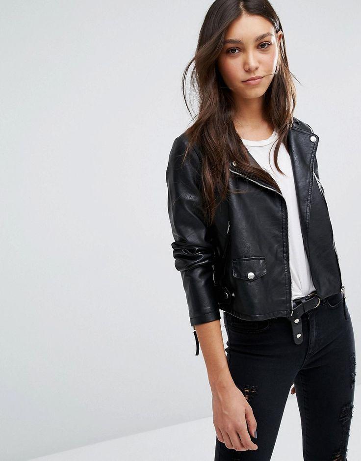 Image 1 ofVero Moda Leather Look Biker Jacket